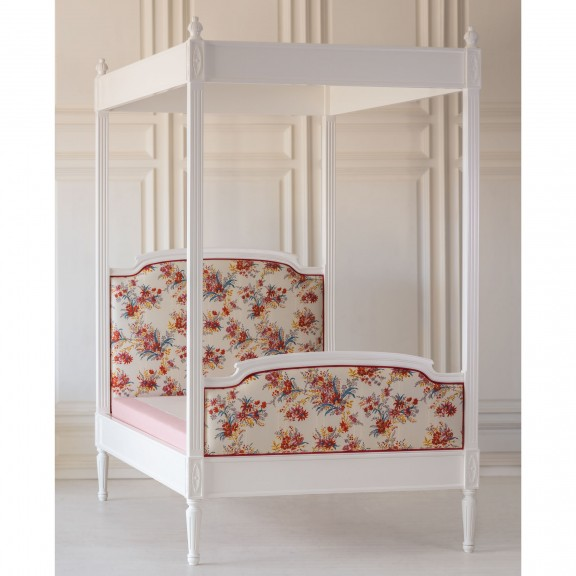 Lovely Louis Upholstered Canopy Bed - In Stock Full Size